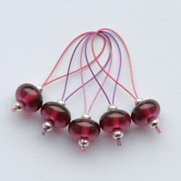 Lampwork Stitch Markers - Ruby Pink
