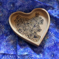 Heart Wooden Ornamental Dish for Jewellery or Trinkets- Mehndipity