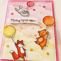 Card with Fox Bear Rabbit Balloons Flying by to say Colourful personalised card