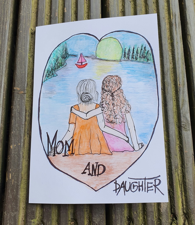 Mom and daughter card