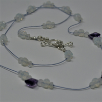Extra long 'illusion' necklace with amethysts and moonstones