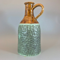 Bud vase Hand Crafted Ceramic Green and Caramel