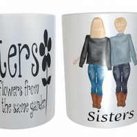 2 Sisters Forever Mug, Custom Best Friend Mug, Best Friend Gift