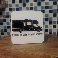 Motorhome Hardboard Coaster - Home is Where You Roam