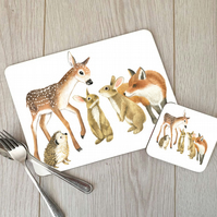 Wildlife Hardboard Placemat and Coaster Set
