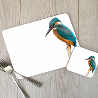 Kingfisher Hardboard Placemat and Coaster Set