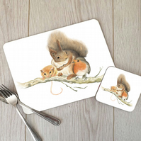 Squirrel, Robin and Vole Hardboard Placemat and Coaster Set