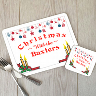 Personalised Christmas Family Name Placemat and Coaster Set, Christmas Placemat