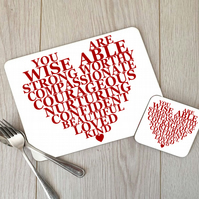 Inspirational Heart Hardboard Placemat and Coaster Set, Heart Table Setting