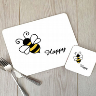 Bee Happy Hardboard Placemat and Coaster Set, Bee Table Setting, Bee Placemat