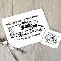 Motorhome Hardboard Placemat and Coaster Set, Camper Table Setting