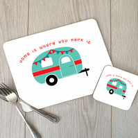 Caravan Hardboard Placemat and Coaster Set, Caravan Table Setting