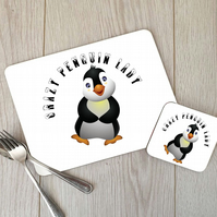 Crazy Penguin Lady Hardboard Placemat and Coaster Set, Penguin Table Setting