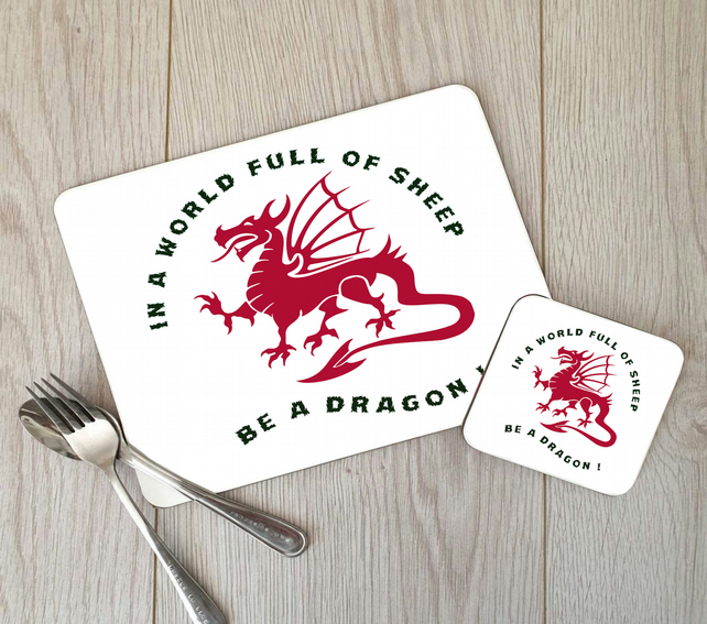 Dragon Hardboard Placemat and Coaster Set, Welsh Dragon Table Setting