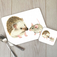 Hedgehog & Mouse Hardboard Placemat and Coaster Set, Mouse Table Setting