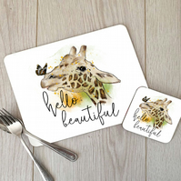 Hello Beautiful Giraffe Hardboard Placemat and Coaster Set, Giraffe Placemat