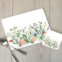 Wild Flowers Hardboard Placemat and Coaster Set