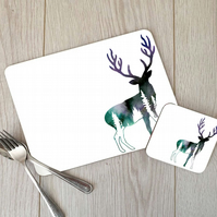 Woodland Stag Hardboard Placemat and Coaster Set