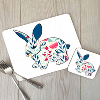 Rabbit Hardboard Placemat and Coaster Set