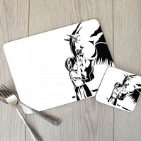 Horse and Girl Hardboard Placemat and Coaster Set