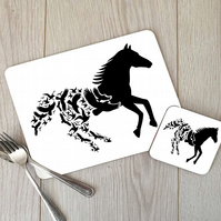 Horse In Flight Hardboard Placemat and Coaster Set