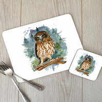 Owl Hardboard Placemat and Coaster Set