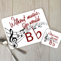 Musical Note Hardboard Placemat and Coaster Set