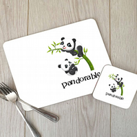 Pandorable Panda Hardboard Placemat and Coaster Set, Panda Table Setting