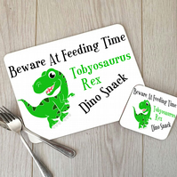 Custom Dinosaur Placemat and Coaster Set, Childrens Placemat, Dinosaur Table Set