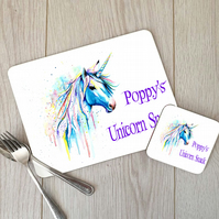 Custom Unicorn Placemat and Coaster Set, Childrens Placemat
