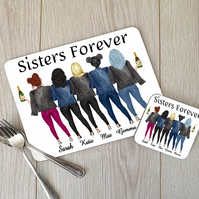 Sisters Forever Hardboard Placemat and Coaster Set, Custom Sisters Table Setting