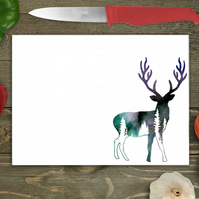 Woodland Stag Large Glass Chopping Board, Personalised chopping board