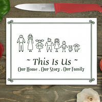 Personalised Character Family Large Glass Chopping Board, Personalised Character