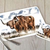 Highland Cow Hardboard Placemat and Coaster Set
