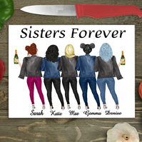 Sisters Forever Large Glass Chopping Board, Custom Sisters Cutting Board