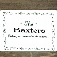 Personalised Family Name Placemat and Coaster Set, Custom Printed Placemat