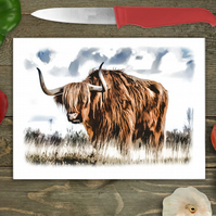 Highland Cow Glass Chopping Board, Personalised chopping board