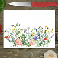 Wild Flowers Glass Chopping Board, Personalised chopping board