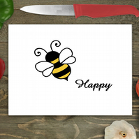 Bee Happy Glass Chopping Board, Personalised chopping board