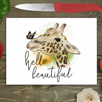 Hello Beautiful Giraffe Glass Chopping Board, Personalised chopping board