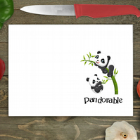 Pandorable Panda Glass Chopping Board, Personalised chopping board