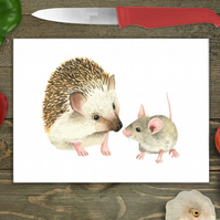 Hedgehog and Mouse Glass Chopping Board, Personalised chopping board