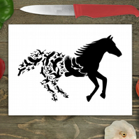 Horse In Flight Large Glass Chopping Board