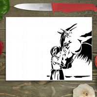 Horse and Girl Large Glass Chopping Board, Personalised chopping board