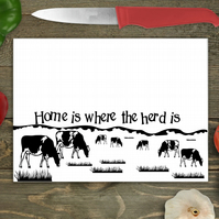 Cow Large Glass Chopping Board - Home Is Where The Herd Is
