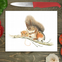 Squirrel, Robin and Vole Glass Chopping Board, Glass worktop protector