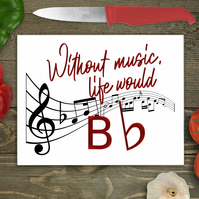 Musical Note Large Glass Chopping Board, Personalised chopping board, Glass work