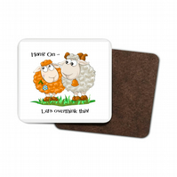 Funny Sheep Hardboard Coaster - Hang On,  Let's overthink this