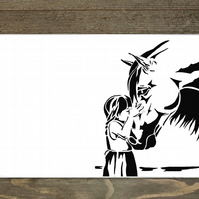 Horse and Girl Hardboard Placemat Set Of 6