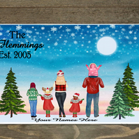 Personalised Family Christmas Placemat, Custom Family Placemat